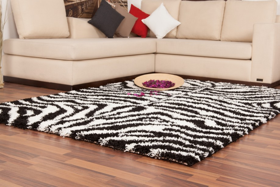 langflor hochflor shaggy teppich streifen style moderne teppiche zebra schwarz w ebay. Black Bedroom Furniture Sets. Home Design Ideas
