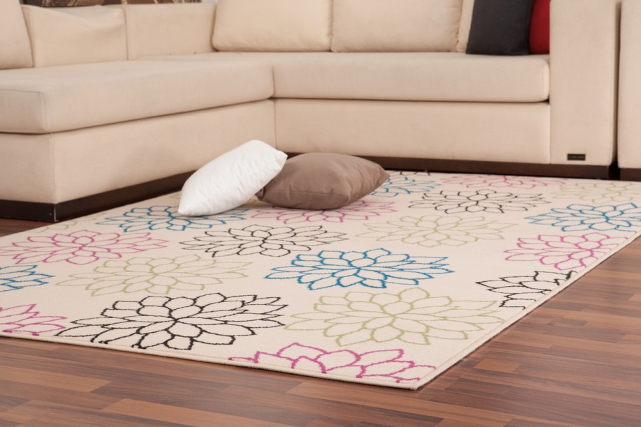 moderne teppiche bunt blumendesign flachflor designer neu angebot creme pink ebay. Black Bedroom Furniture Sets. Home Design Ideas